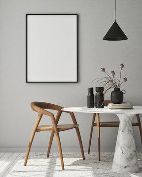mock up poster frame in modern interior background, dinning room, Scandinavian style, 3D render, 3D illustration