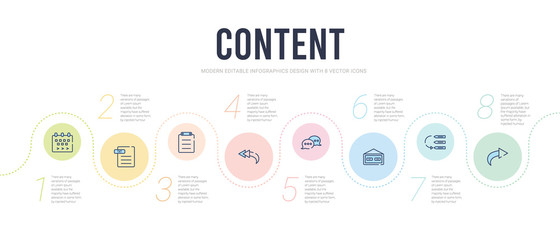 content concept infographic design template. included reply, priority, weekend, сhat, reply all, paste icons