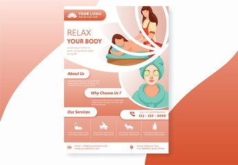 Orange and White Flyer Layout with Beauty Spa Illustration Elements