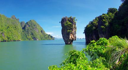 Thailand James Bond stone Island, Phang Nga in Thailand. Sea