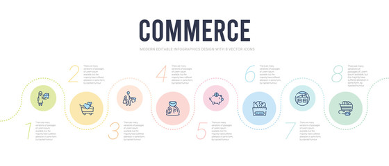 commerce concept infographic design template. included e commerce shopping cart tool, house badge, grocery, piggy bank with coin, bag of money with dollar, shopper icons