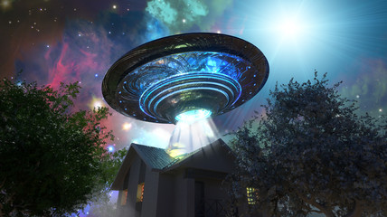 Foto auf Gartenposter UFO ufo flying saucer over the house, 3D render