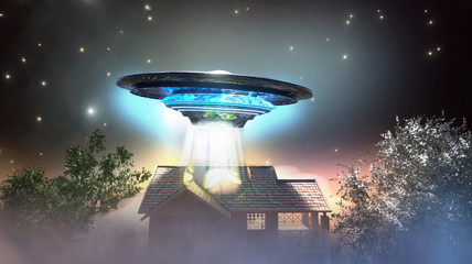 Deurstickers UFO ufo flying saucer over the house, 3D render