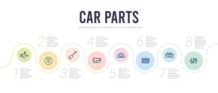car parts concept infographic design template. included car crankshaft, car cylinder, cylinder head, dashboard, demister, dipstick icons