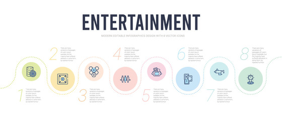 entertainment concept infographic design template. included logic board games, tangram, memory board games, board game box, table soccer, game with hexagons icons