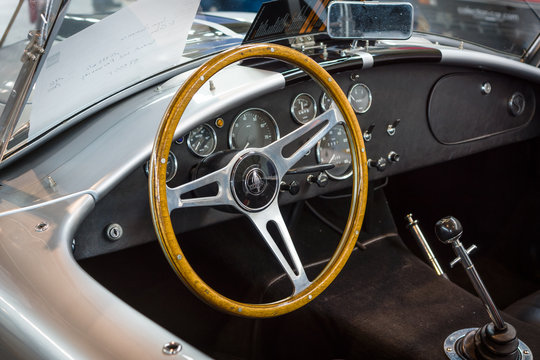 "STUTTGART, GERMANY - MARCH 18, 2016: Cabin of roadster Shelby AC Cobra, 1966. Europe's greatest classic car exhibition ""RETRO CLASSICS"""