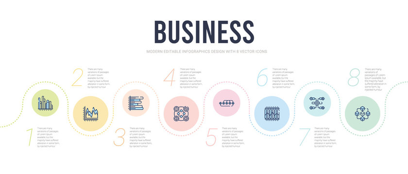 business concept infographic design template. included connection box chart, infographic elements, marketing chart, points connected chart, item interconnections, horizontal bar icons