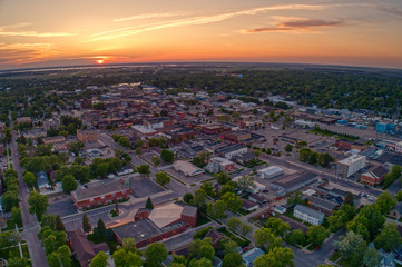 Aerial View of Watertown, South Dakota during a Summer Sunset Wall mural