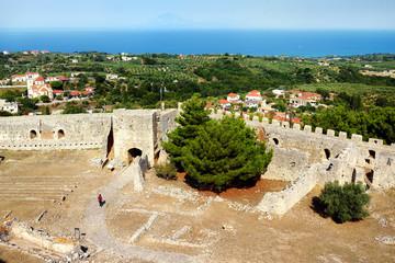 "Village Kastro, Peloponnese, Greece - September 16, 2019: Medieval Chlemoutsi (""Clermont"") castle"