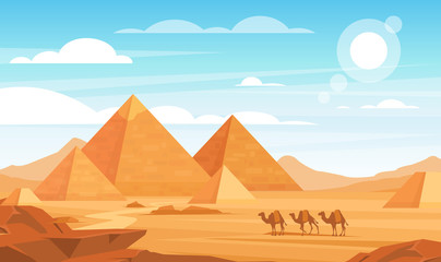 Foto op Textielframe Pool Pyramids in desert flat vector illustration. Egyptian landscape panoramic cartoon background. Bedouin camels caravan and Egypt landmarks. African nature scenery. Animals and sand dunes.
