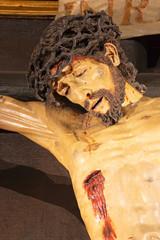 ZARAGOZA, SPAIN - MARCH 2, 2018: The detail of statue of Crucifixion in church in church Iglesia de la Exaltación de la Santa Cruz.