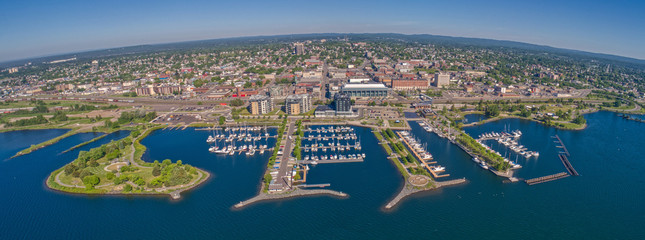 Aerial View of Thunder Bay, Ontario on Lake Superior in Summer Wall mural
