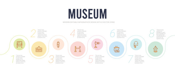 museum concept infographic design template. included souvenir, audio guide, cafe,  , fencing, mask icons Fototapete