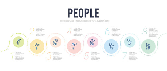 people concept infographic design template. included man leaning against the wall, man jumping, shot put, sitting man reading, woman looking by a spyglass, sitting drinking a soda icons