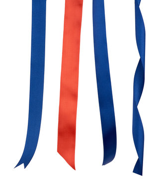 dark blue and red silk ribbons isolated on white background