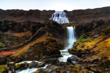 Dynjandi waterfall Iceland autumn