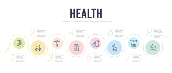 health concept infographic design template. included muscle, abs, exercise, nutrition, proteins, body icons Fotobehang