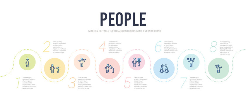 people concept infographic design template. included ticket collector, preference, chat balloon, male users, running at finish line, biceps of a man icons