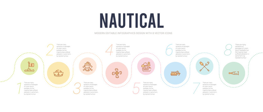 nautical concept infographic design template. included nautical monocular, oars, oil tanker ship, old galleon, propeller, rubber raft icons