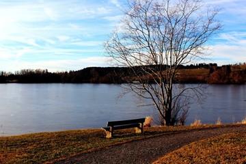 Holzbank am See, Rottachsee, Allgäu
