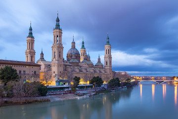 Wall Mural - Zaragoza - The cathedral Basilica del Pilar at dusk.