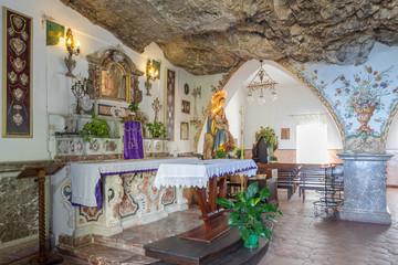 TAORMINA, ITALY - APRIL 9, 2018: The interior of chruch Chiesa Madonna della Rocca over the town.