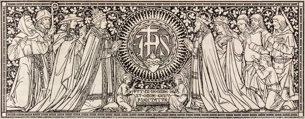 BRATISLAVA, SLOVAKIA, NOVEMBER - 21, 2016: The lithography of JHS (name of Jesus) initials in Missale Romanum by unknown artist with initials F.M.S from end of 19. cent. by Typis Friderici Pustet.