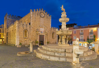 Wall Mural - Taormina - The Piazza del Duomo - (church st. Pancrazio) at dusk.
