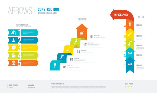 arrows style infogaphics design from construction concept. infographic vector illustration