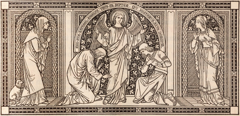 BRATISLAVA, SLOVAKIA, NOVEMBER - 21, 2016: The lithography of Archangel Raphael in Missale Romanum designed by unknown artist with initials F.M.S (1884) by Typis Friderici Pustet.