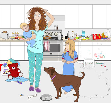 A young busy mother in pajamas holding a baby, touching her head with an anxious expression, standing  in a modern messy kitchen setting, with a young girl and a dog beside her, seemingly overwhelmed