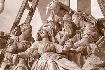 REGGIO EMILIA, ITALY - APRIL 14, 2018: The detail from sculptural group The Deposition (Pieta) of the cross in church chiesa di San Francesco by Antonio Begarelli (1499-1565).
