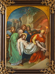 VIENNA, AUSTRIA - DECEMBER 19, 2016: The painting Burial of Jesus in church kirche St. Laurenz (Schottenfelder Kirche) by unknown artist of 19. cent.