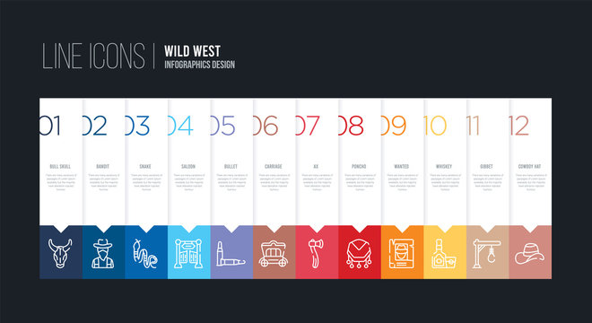 infographic design with 12 options. stroke line icons such as carriage, bullet, saloon, snake, bandit, bull skull can be use for web and mobile
