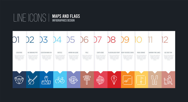 infographic design with 12 options. stroke line icons such as pole, arrow on globe, bicycle, location mark on printed map, no smoking pipe, locations can be use for web and mobile