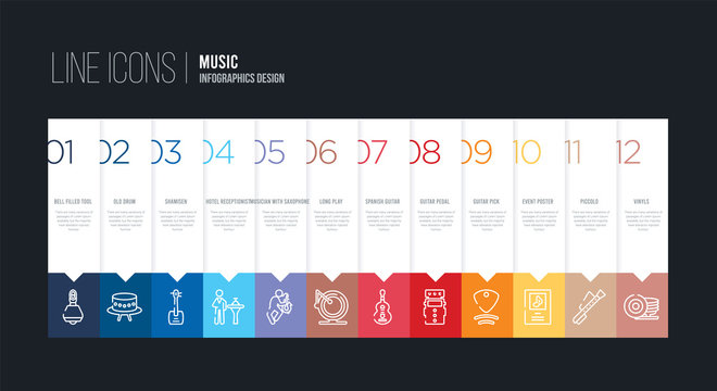 infographic design with 12 options. stroke line icons such as long play, musician with saxophone, hotel receptionist, shamisen, old drum, bell filled tool can be use for web and mobile