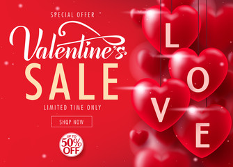 Valentine's Day Sale Special Offer Lovely Promotional Poster Design Up To 50% Off Advertisement for Limited time only with Lots of Realistic Red Hearts. Vector Illustration