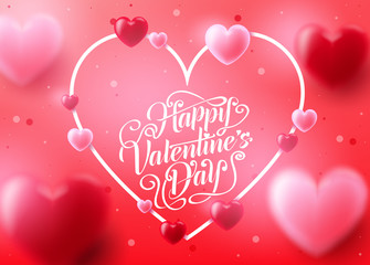 Valentine's Day Background with Realistic 3D Heart in Pink Red Background Romantic Lovely Design. Vector Illustration
