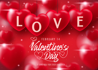 Valentine's Day Decorative Lovely Greeting Card with Realistic Hearts in Red Background. Vector Illustration