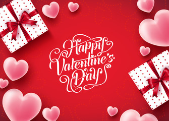 Happy Valentine's Day Background Lovely Design with Lots of Hearts in Red Background Poster Greeting Card. Vector Illustration