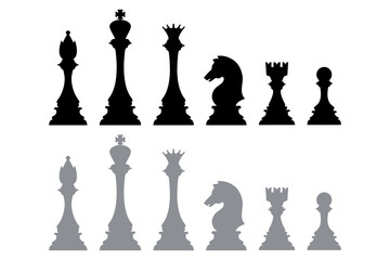 Silhouette icons from chess pieces, such as kings, bishops, queens, knights, rooks, and pawns. Element vector of chess games. Part of a chessboard game for hobbies and sports.