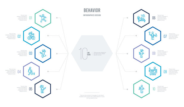 behavior concept business infographic design with 10 hexagon options. outline icons such as man spraying deodorant, man typing, stick man graduated, cooking, sunbathing, and dog
