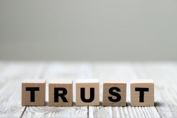 Trust word written on wood block on wooden background