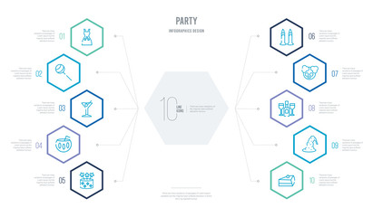party concept business infographic design with 10 hexagon options. outline icons such as slice of cake, wizard hat, bottle and two glasses, clown head with hat, blowing candle, bowl with straw Wall mural