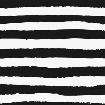 Universal unisex black and white seamless repeat pattern with grunge torn texture jagged vector cabana stripe