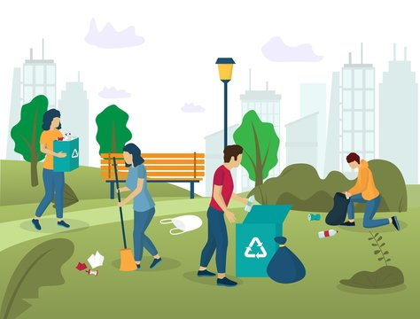 Park cleaning vector concept for web banner, website page