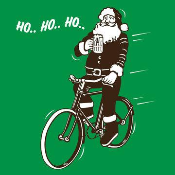 Santa Claus Drink Beer & Riding Bike