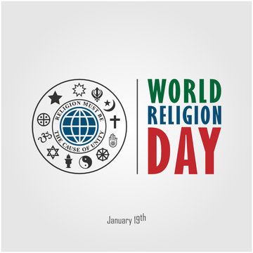 World Religion Day January 19th logo/symbol. vector illustration