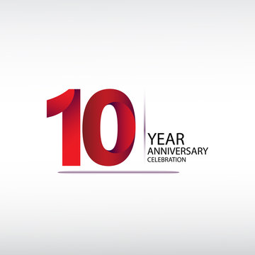 10 years anniversary celebration logotype. anniversary logo with red, vector design for celebration, invitation card, and greeting card