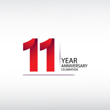 11 years anniversary celebration logotype. anniversary logo with red, vector design for celebration, invitation card, and greeting card